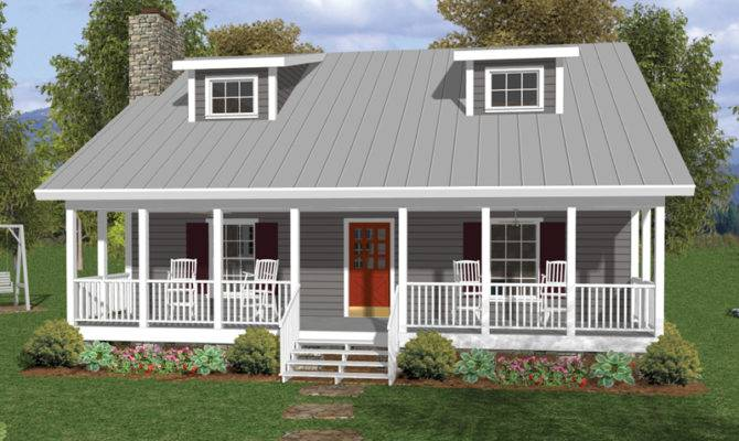 One Half Story Home Deep Covered Porch Twin Dormers