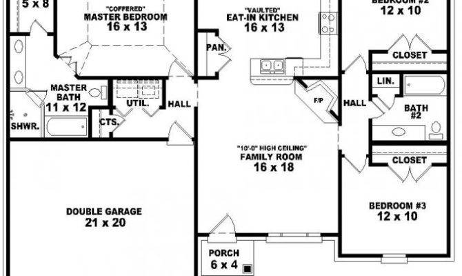 One Story Bedroom Bath French Traditional Style House Plan