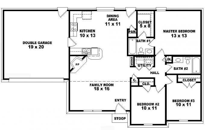 One Story Bedroom Bath Traditional Ranch Style House Plan