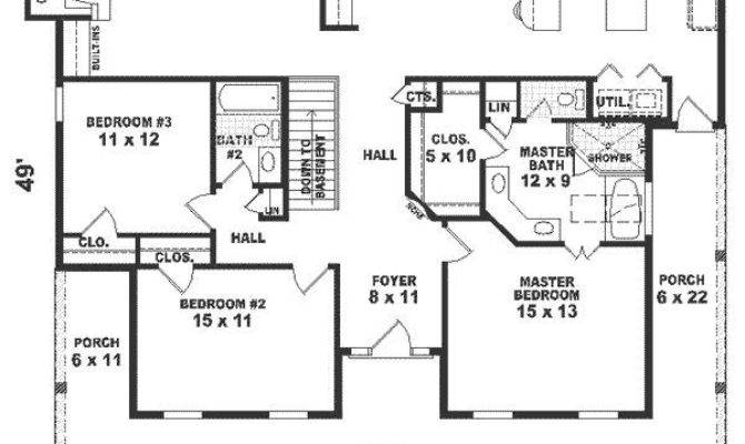 One Story House Plans Square Feet Bedroom
