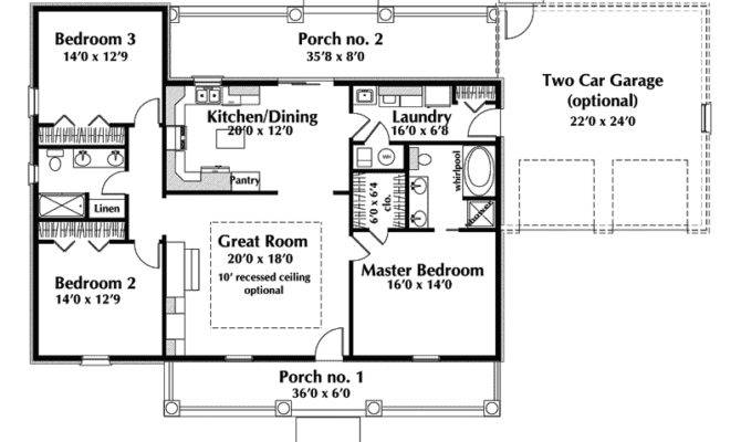 One Story Ranch House Plans Country Plan First