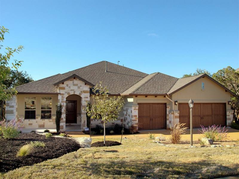 One Story Stucco Stone Homes Popular Plan Building Plans