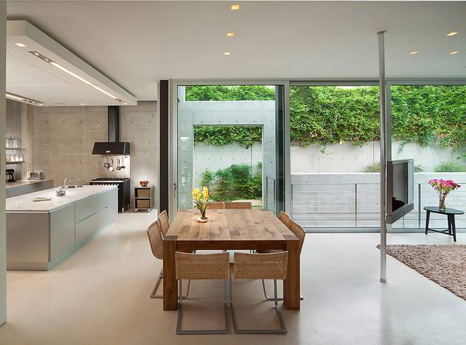 Open Floor Plan Kitchen Merges Dining Living