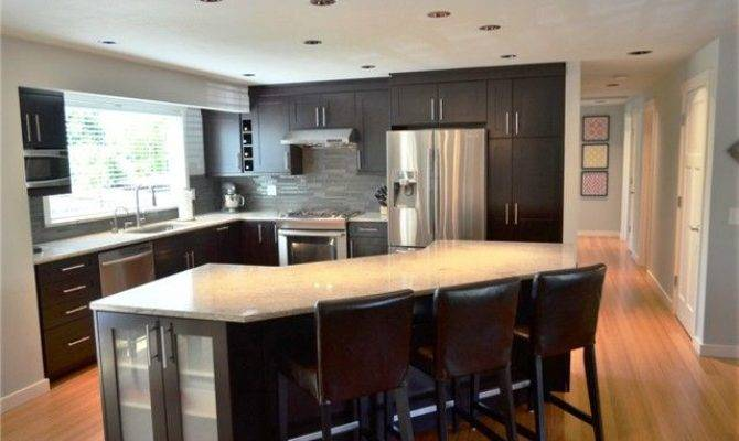 Open Kitchen Angle Island Split Level House Things