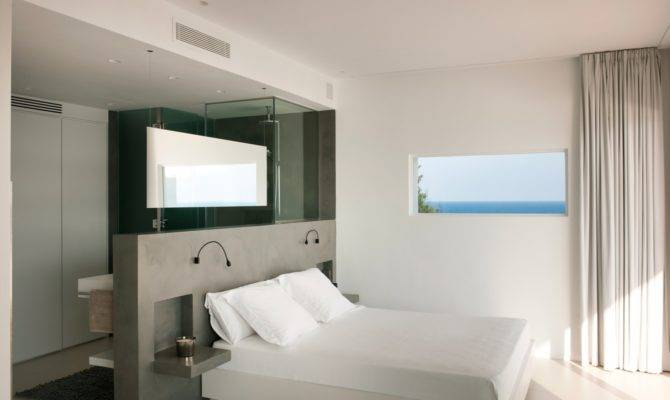 Open Plan Bedroom Bathroom Dressing Area Interior Design Ideas