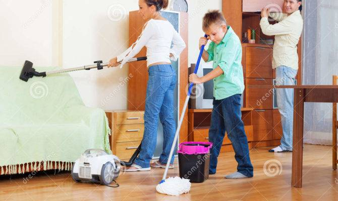 Ordinary Three Teenager Doing Housework