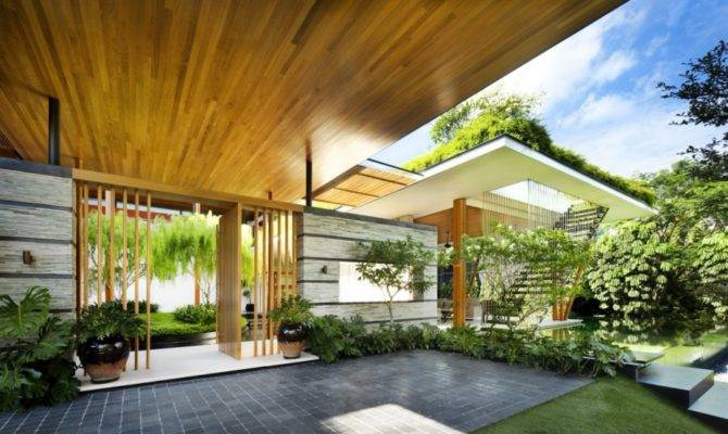 Outdoor House Plan Interior Courtyard Rooftop Garden
