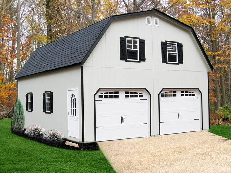 Painted Gambrel Story Modular Garage Backyard Escapes