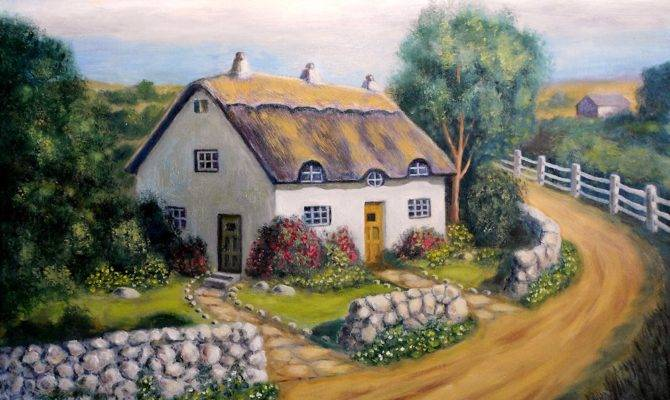Paintings Originals Sale English Cottage Artsyhome