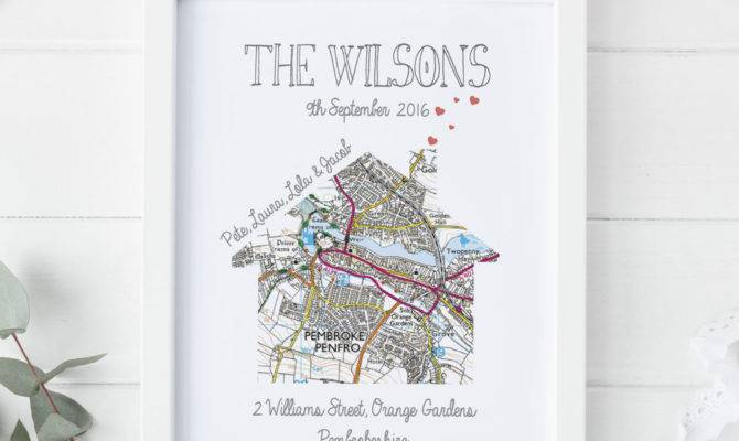 Personalised Map Print New Home First House Gift