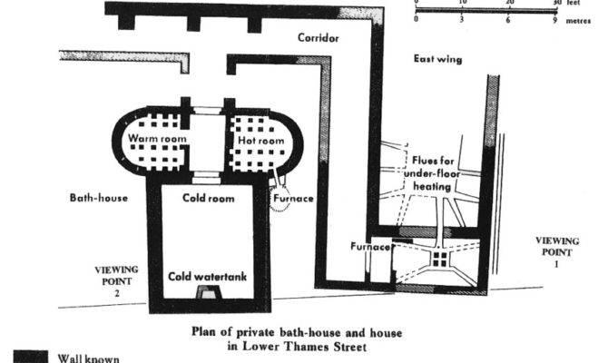 Plan Billingsgate House Baths Showing Heated Rooms