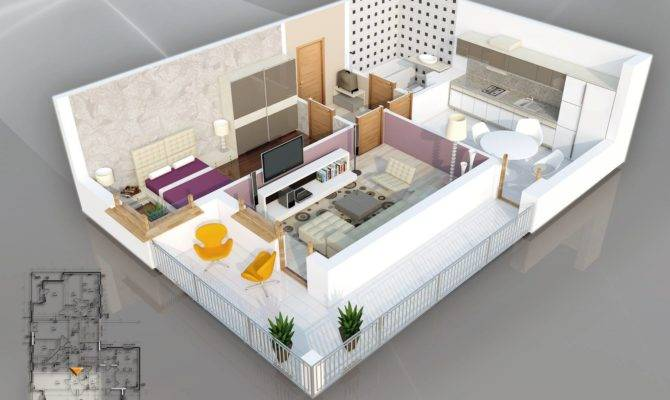 Plan Give One Bedroom Bathroom Apartment Sense Style