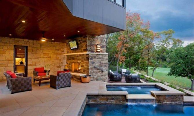 Pool Houses Contemporary Patio