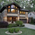 Prairie Style Home Garage Front Garden Design
