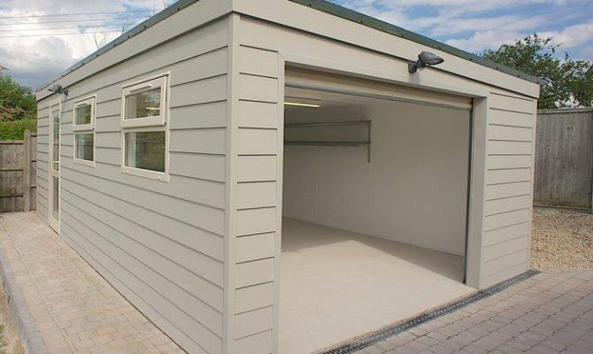 Prefab Garden Buildings Flat Roof Garage Sloped