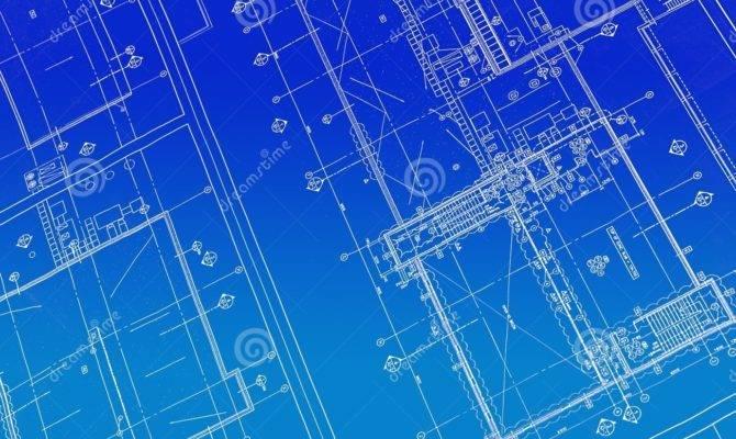 Printed Blueprint Drawings Drafting