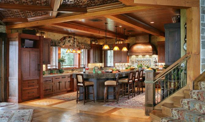 Pure Rustic Mountain House Kitchen New York
