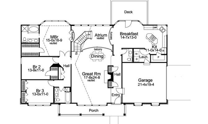 Ranch House Plan First Floor Atrium