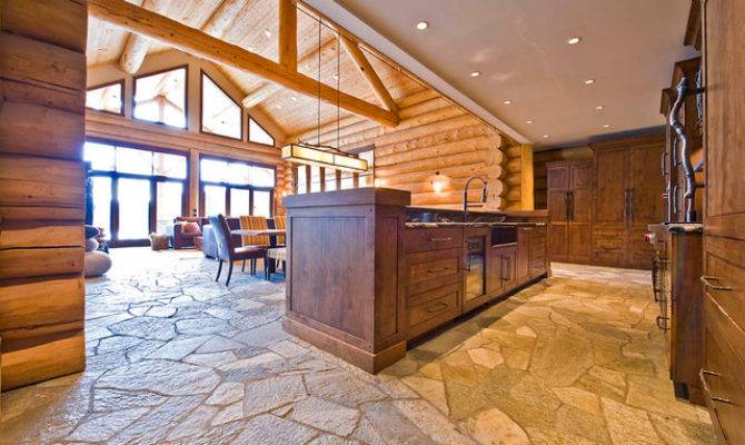 Ranch Log Home Traditional Kitchen Sitka Homes