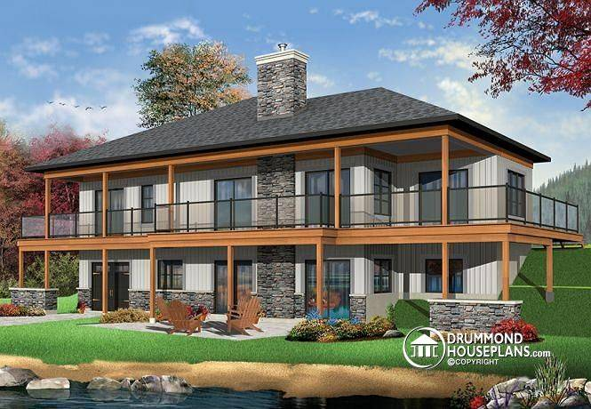 Rear Lakefront House Plan Bedrooms Open Floor Plans Large