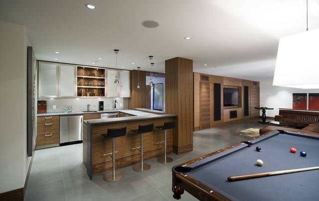 Rec Room Bar Contemporary Home Theater Vancouver