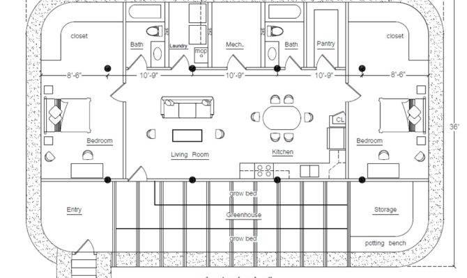 Rectangular Square Earthbag House Plans