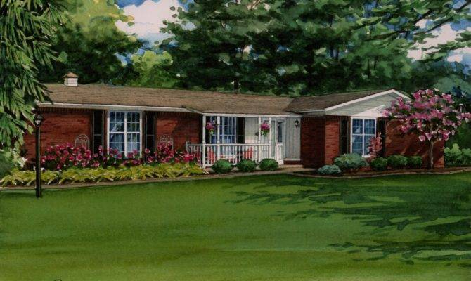 Red Brick Ranch House Watercolor Portrait