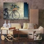 Retro Bike Canvas Painting Cheap Modern Paintings Wall