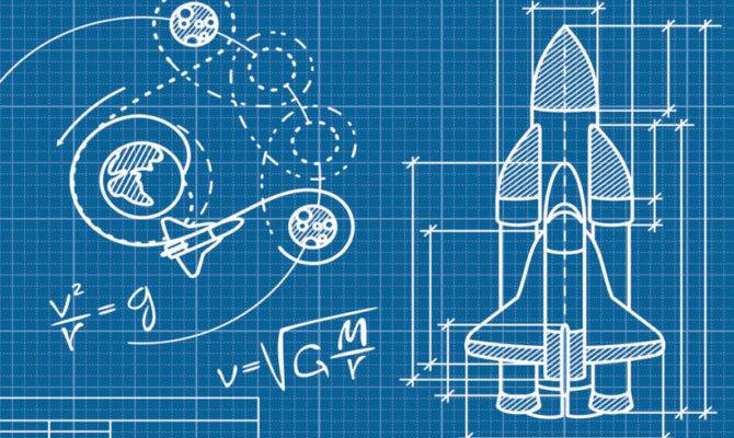 Rocket Blueprint Wall Mural Muralswallpaper