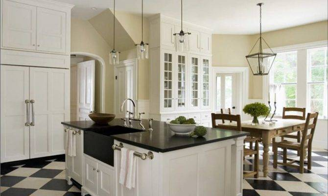 Roth Kitchen White Traditional Cabinets Check Checkered Tile Floor