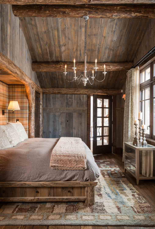 Rustic Ceiling Floor Cabin Mountain Home Master Bedroom