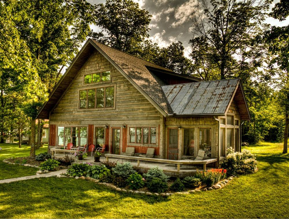 Rustic Cottage Red Trim Windows Dark Wood