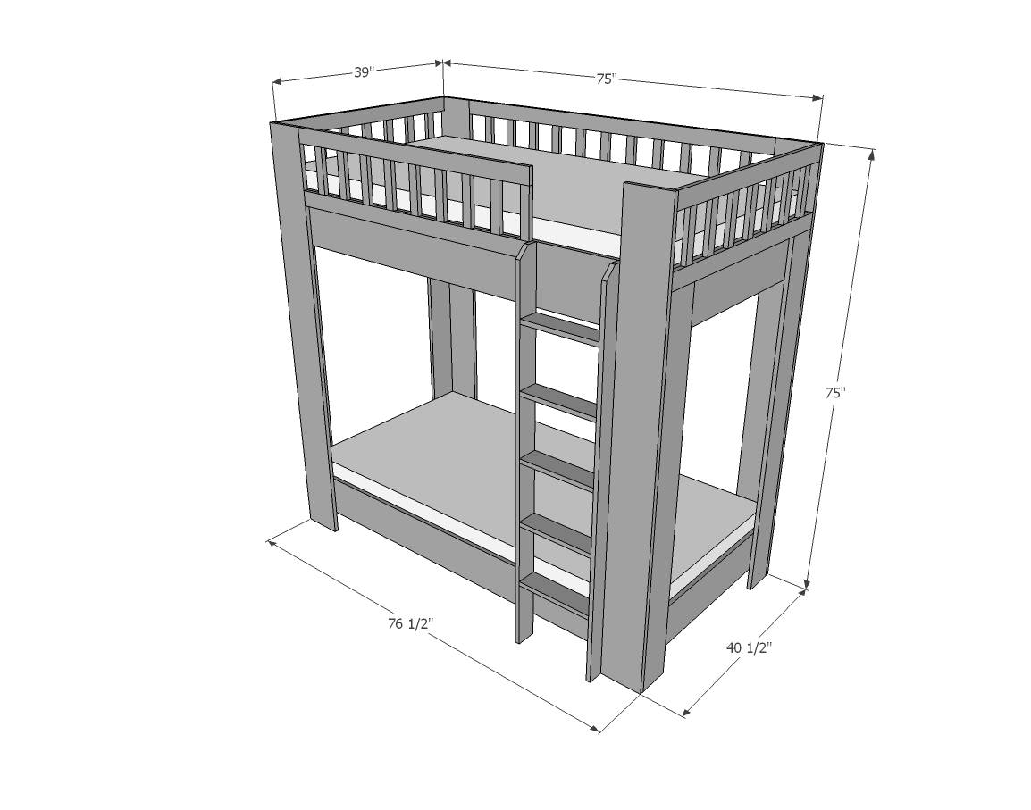 Rustic Modern Bunk Bed Easy Diy Project Furniture Plans