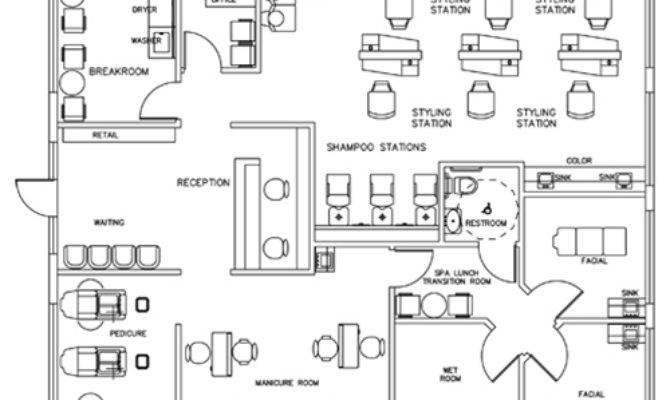 Salon Spa Design Cad Layout Square Foot