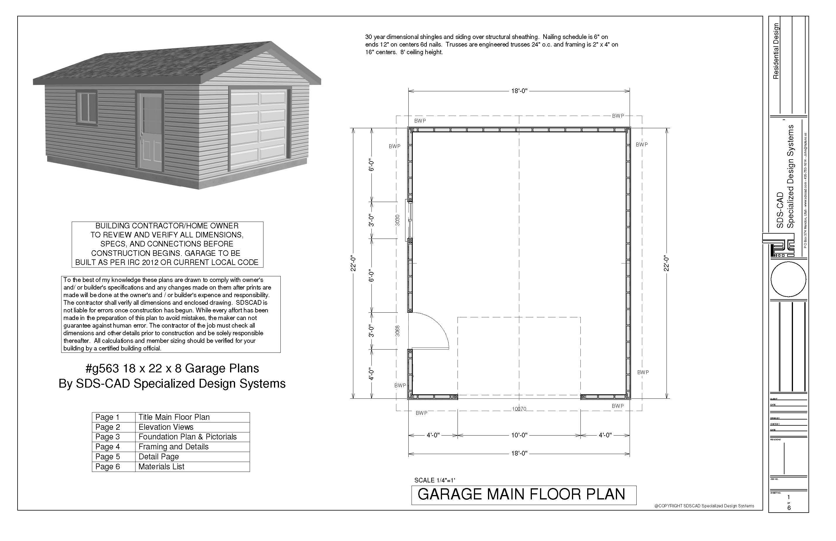 Sample Garage Plan Plans Pdf Dwg