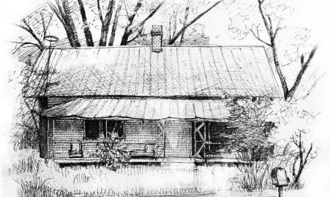 Sandersville Road Farmhouse Drawing Peter Muzyka