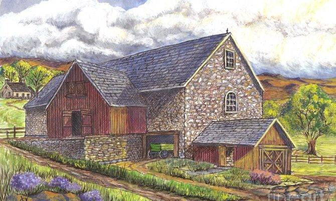 Scottish Farm Drawing Carol Wisniewski