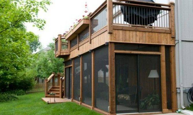 Second Floor Deck Screened Porch Design Stairs