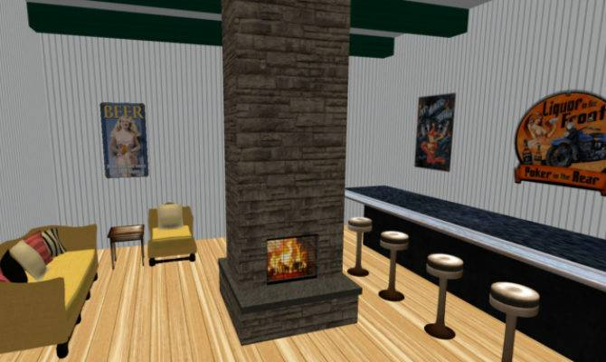 Second Life Marketplace Center Room Stone Fireplace