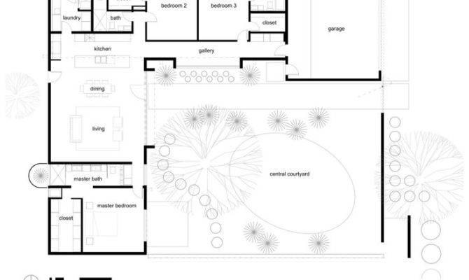 Shaped House Plans Courtyard Back Six