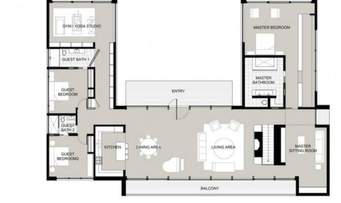 Shaped House Plans Courtyard Home Design