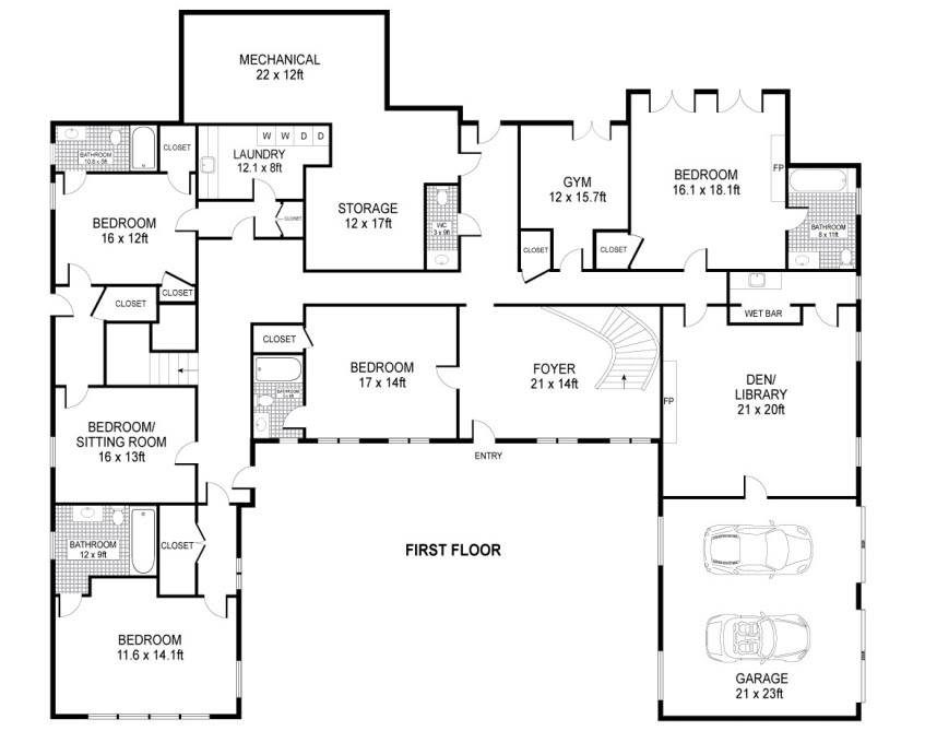Shaped House Plans Single Level Home Design