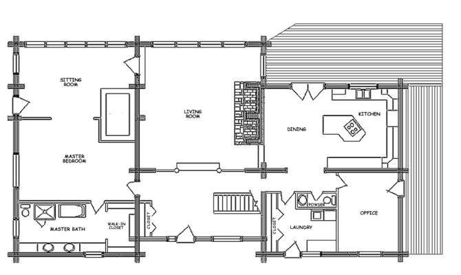 Showplace Log Home Floor Plan Main
