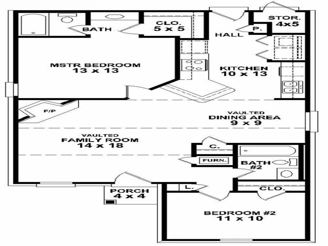 Simple Bedroom House Floor Plans Small Two