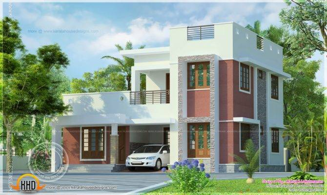 Simple Flat Roof House Exterior Kerala Home Design Floor Plans