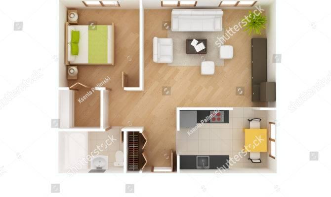 Simple Floor Plan House Top Illustration