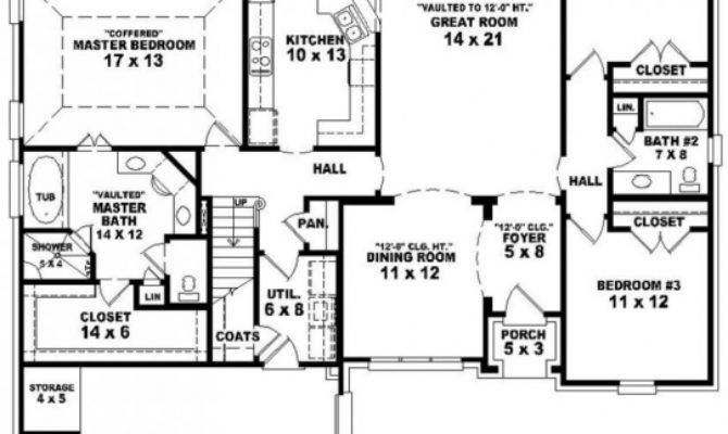 Simple House Plan Bedrooms Garage Floor