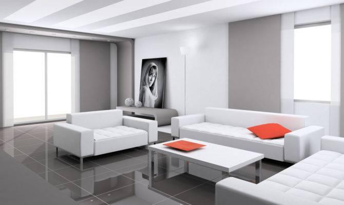 Simple Living Room Modern House Smart Design White