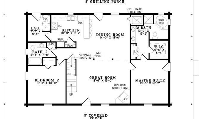 Simple One Story Bedroom House Plans Floor Plan Enlarge