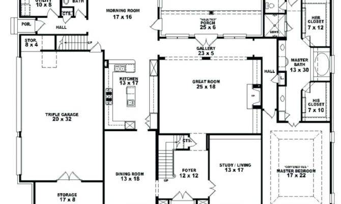 Simple One Story Four Bedroom House Plans